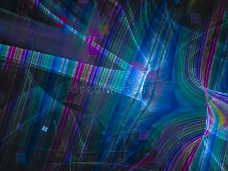 Fractal abstrakt, cyfrowa dyskoteka nowożytna, jaskrawa deseniowa projekt magii fantazja ilustracji