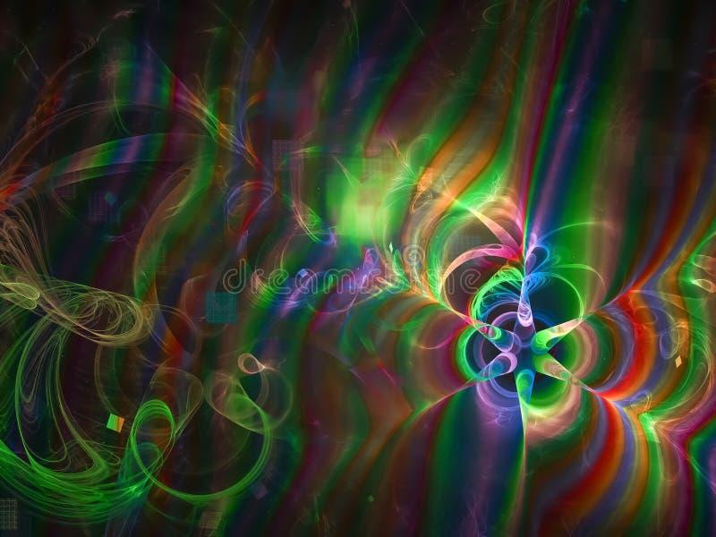 Fractal abstrakt, ornamentu ruchu stylu zawijasa połysku dyskoteka nowożytna, tekstura projekta magii jaskrawa deseniowa fantazja ilustracja wektor