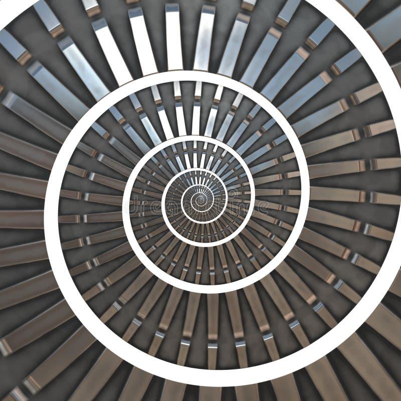Fractal abstrato azul metálico intrincado da espiral/roda denteada em b branco ilustração royalty free