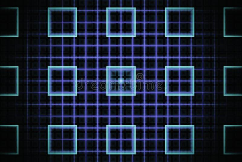 Fractal abstrato da tecnologia com quadrados cianos de incandescência ilustração stock