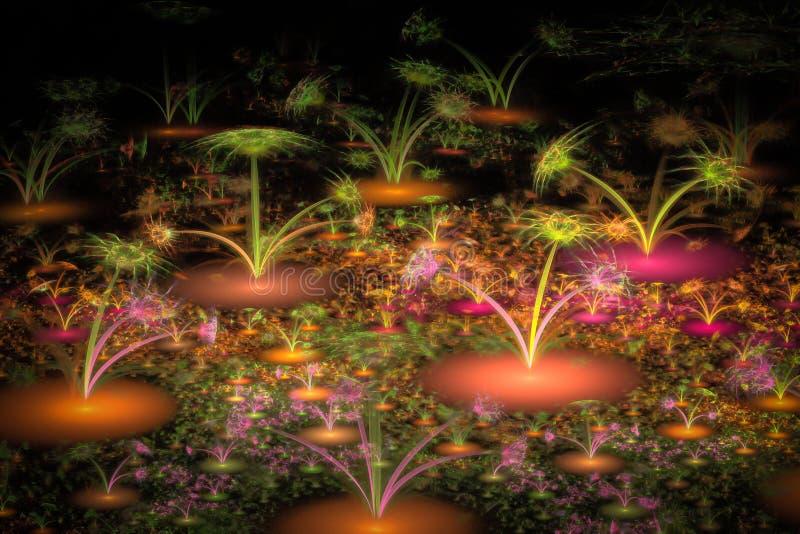The fractal alien flowers stock illustration