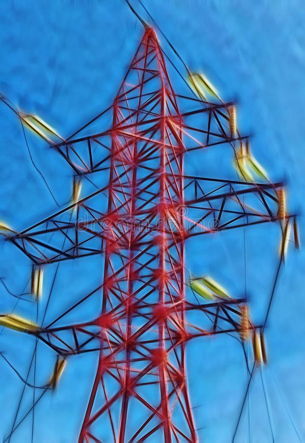 Fractal beeld van de elektrische post van de torenhoogspanning stock foto's