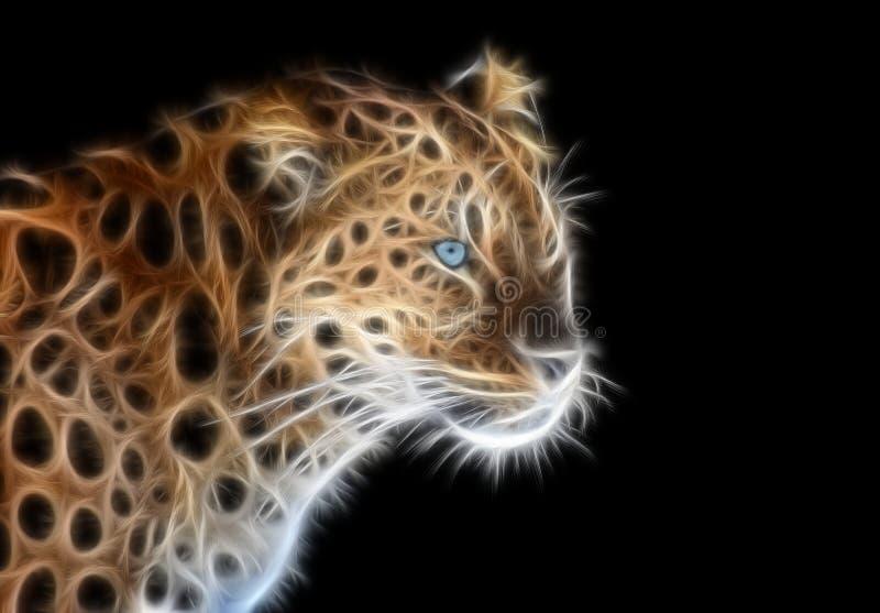 Fractal beeld van een wilde luipaard met blauwe ogen royalty-vrije illustratie