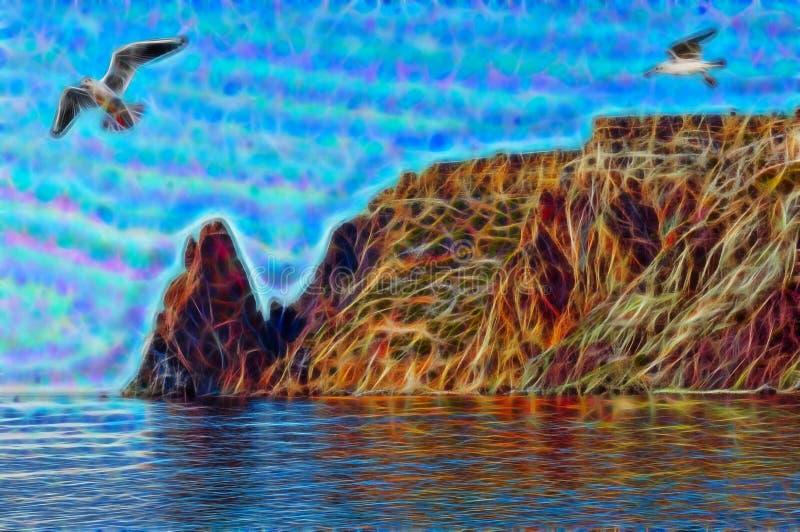 Fractal beeld van Overzeese kust stock illustratie