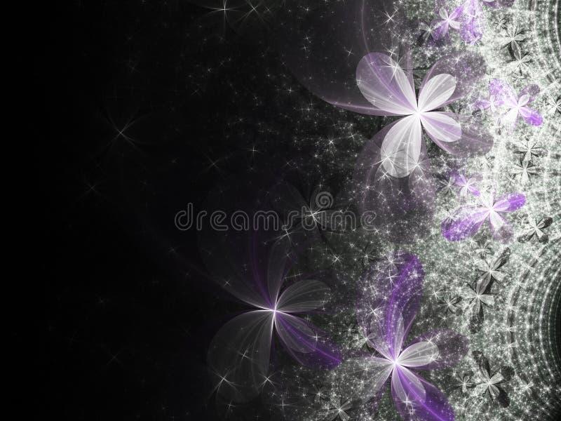 Fractal bloemen met purpere kleurenstroken royalty-vrije illustratie