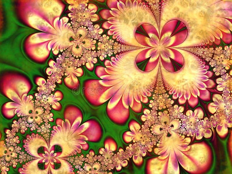 Fractal-Blumen-Blumenblatt-Collage stockbilder