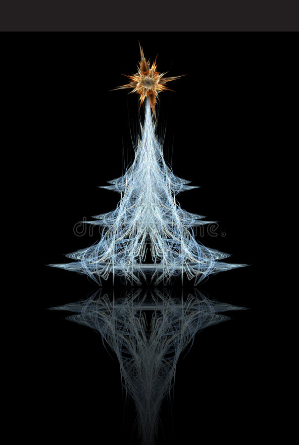Fractal Christmas tree. With star vector illustration