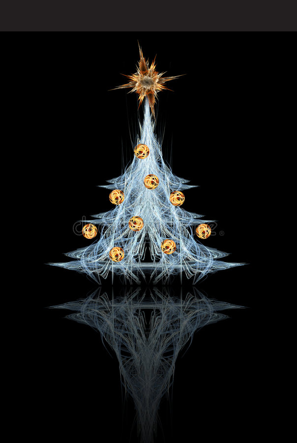 Fractal Christmas tree. With star and decoration vector illustration