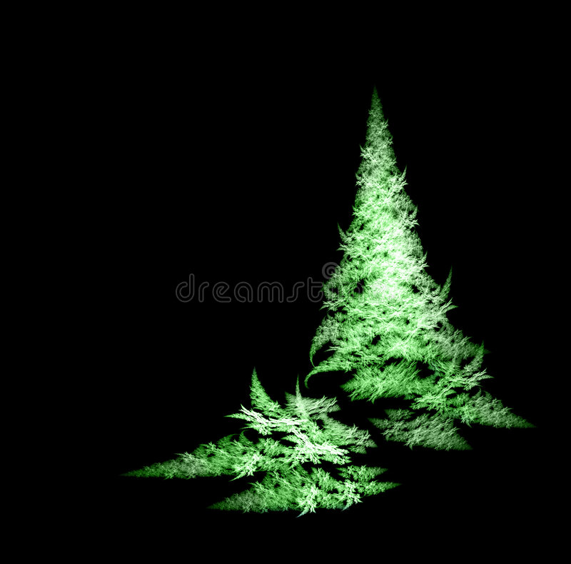 Fractal Christmas tree. Green Fractal Christmas tree on black background vector illustration