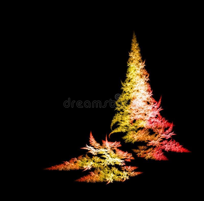 Fractal Christmas tree. Colorful Fractal Christmas tree on black background royalty free illustration
