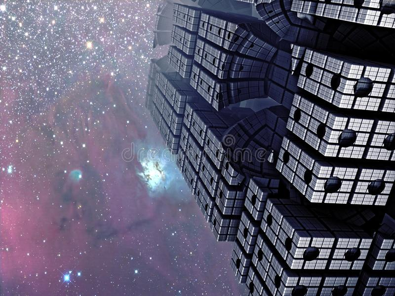 Fractal Cityscape. A digital representation, using fractals, of a city under the stars of a cosmic sky