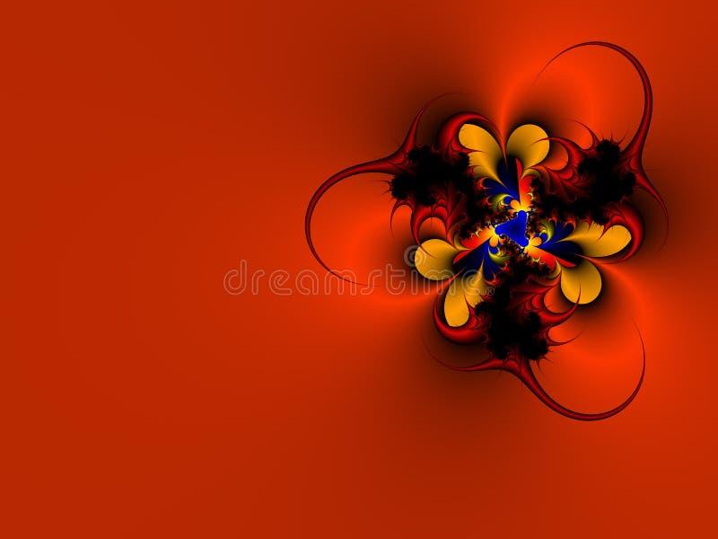 Fractal claveteado rojo ilustración del vector