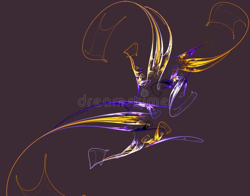 Fractal colorful paints on black stock illustration