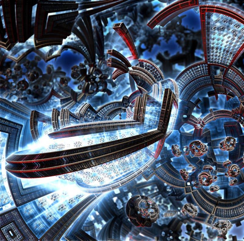 fractal 3d da cidade futura Navio de espaço dos elementos do metal ilustração royalty free
