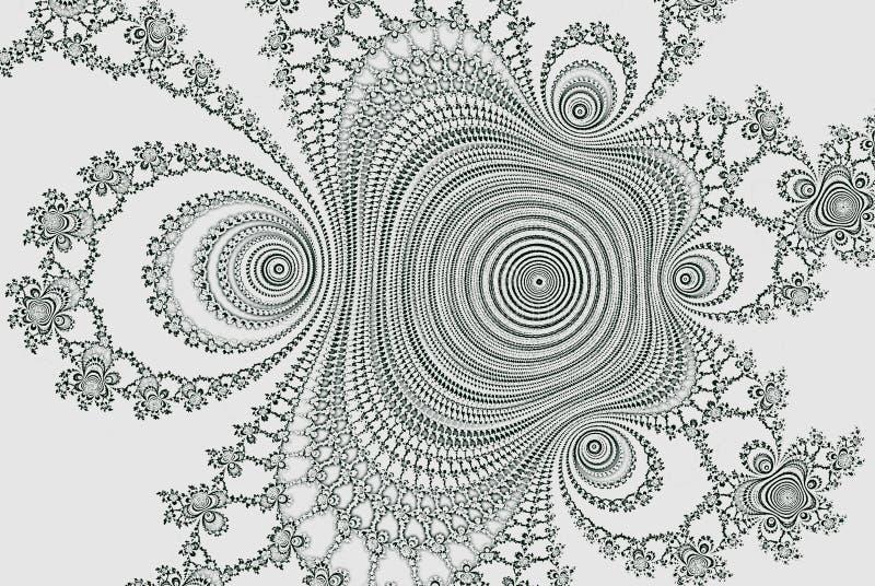 fractal 3d eller baner Fluid form för Fractal 3d för färgläggningbok Abstrakt monokrom futuristisk ljus bakgrund stock illustrationer
