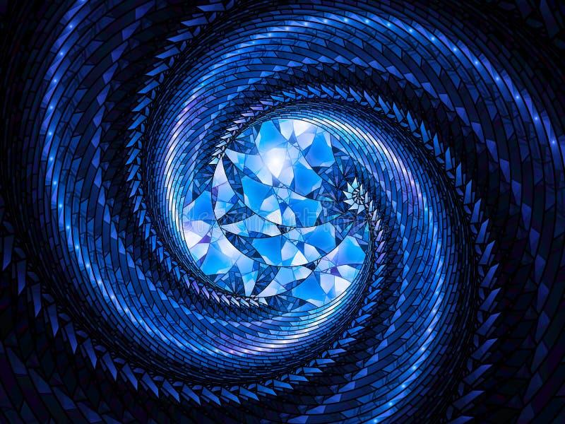 Fractal de incandescência azul da espiral do vitral ilustração do vetor