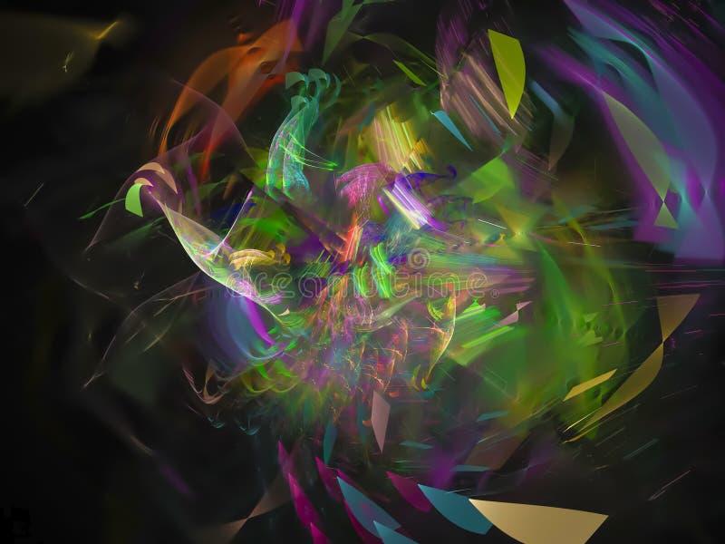 Fractal de moda del ornamento del efecto de la plantilla colorida abstracta hermosa del estilo, fantasía del poder del anuncio de stock de ilustración