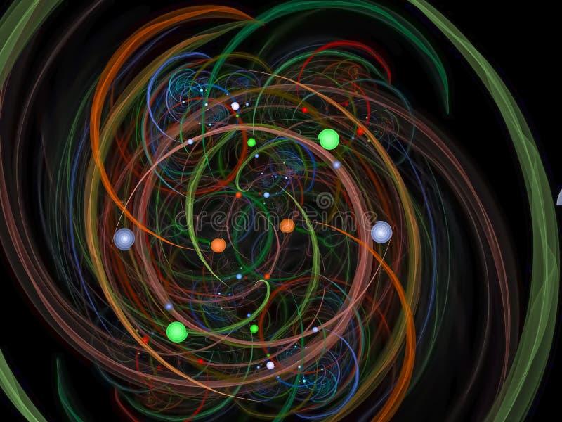 Fractal de moda del ornamento de la energía digital colorida abstracta hermosa, diseño de la fantasía del poder del anuncio stock de ilustración