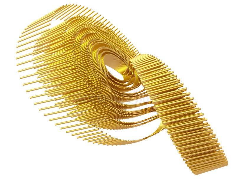 Fractal de oro Attractor cuatro de Lorenz del arte óptico ilustración del vector