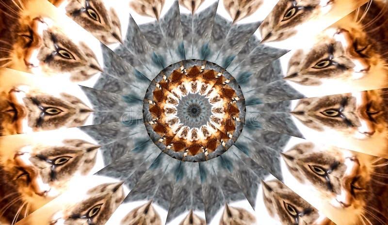 Fractal del caleidoscopio de la bandera de los ojos de gato ilustración del vector