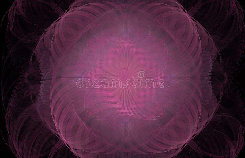 Fractal del extracto del remolino del rosa en fondo negro Textura del fractal de la fantasía Arte de Digitaces representación 3d  stock de ilustración