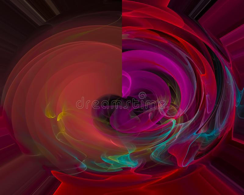 Fractal digital abstracto, decoración del hermoso diseño del efecto de la decoración de la explosión del flujo, contexto ilustración del vector