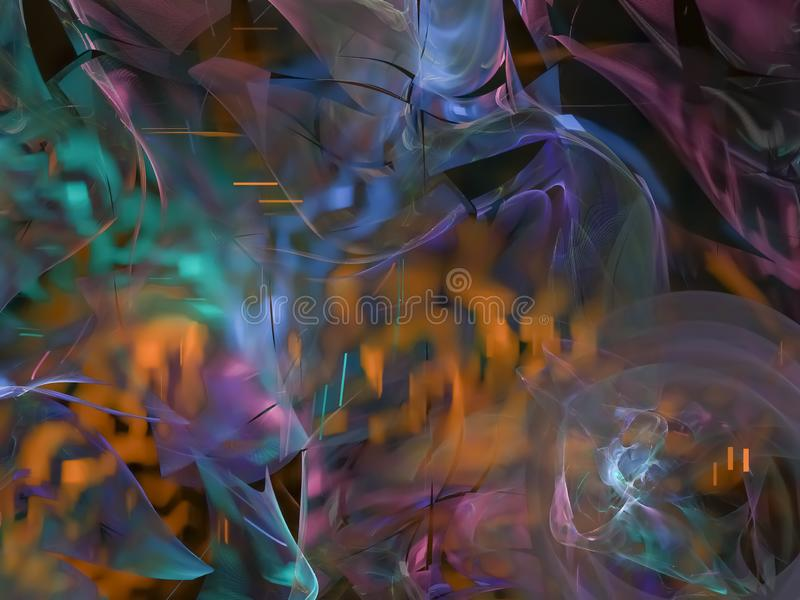 Fractal digital abstrato, tampa criativa do fulgor da decoração dinâmica da ciência do papel de parede do efeito, estilo futurist ilustração stock