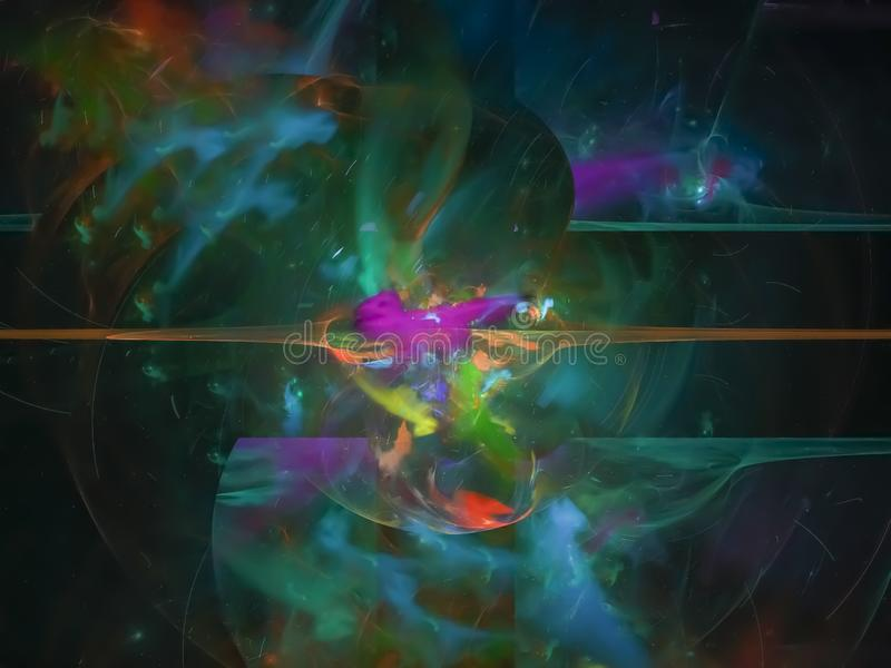 Fractal digital, ardiente mágico de la llama abstracta, contexto del partido de la fantasía del color del papel pintado, tarjeta, stock de ilustración