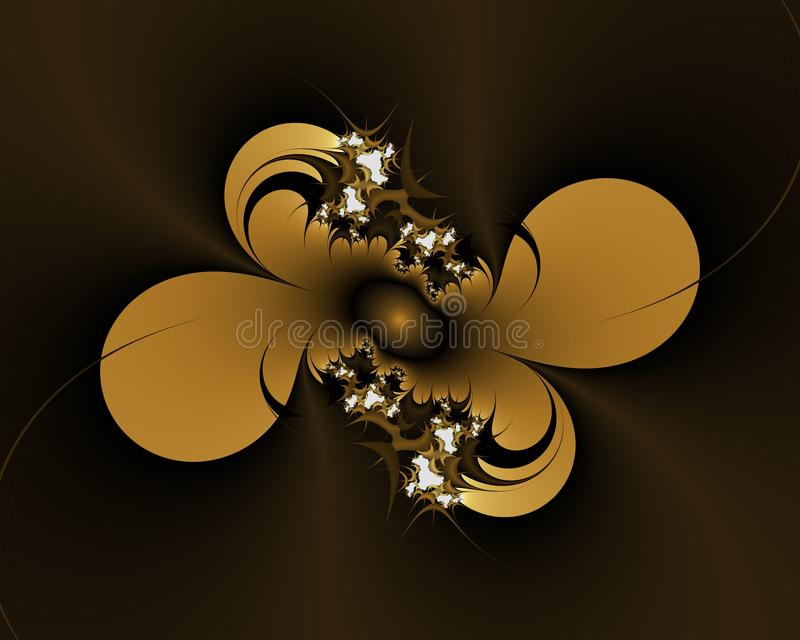 Fractal do ouro do diamante, luzes efervescentes elegantes floridos dos contrastes, textura, fundo abstrato ilustração royalty free