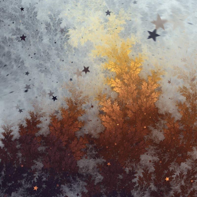 Fractal drzewo z spada gwiazdami ilustracja wektor