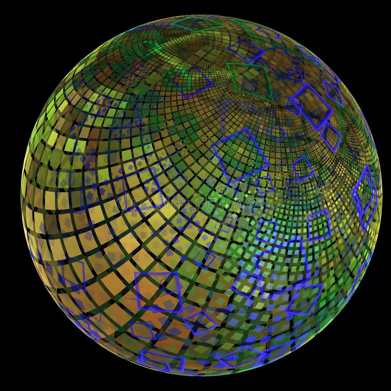 Fractal with an earth-like globe covered in squares in different sizes and layers royalty free illustration