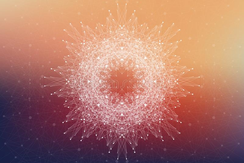 Fractal element with compounds lines and dots. Big data complex. Graphic abstract background communication. Minimal royalty free illustration