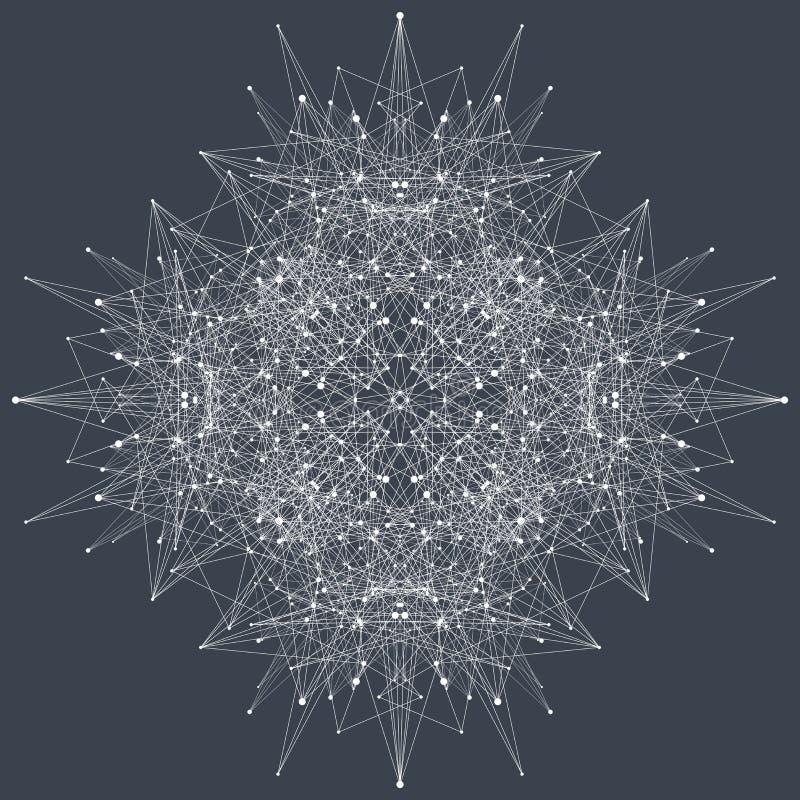 Fractal element met samenstellingenlijnen en punten Grote complexe gegevens Grafische abstracte mededeling als achtergrond minima royalty-vrije illustratie