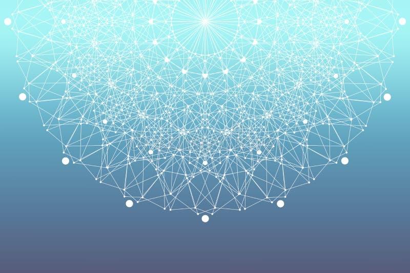Fractal element z związanymi liniami i kropkami Duży dane kompleks Cząsteczek mieszanki Sieć związek, linii plexus ilustracji