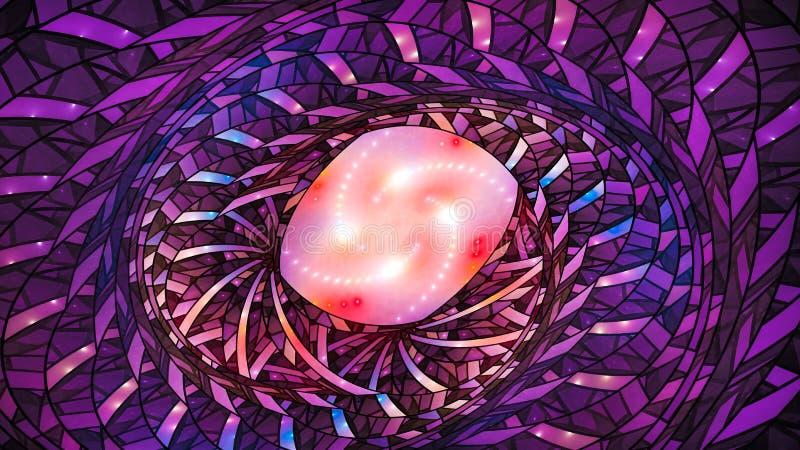 Fractal espiral abstracto colorido de la geometría que brilla intensamente libre illustration