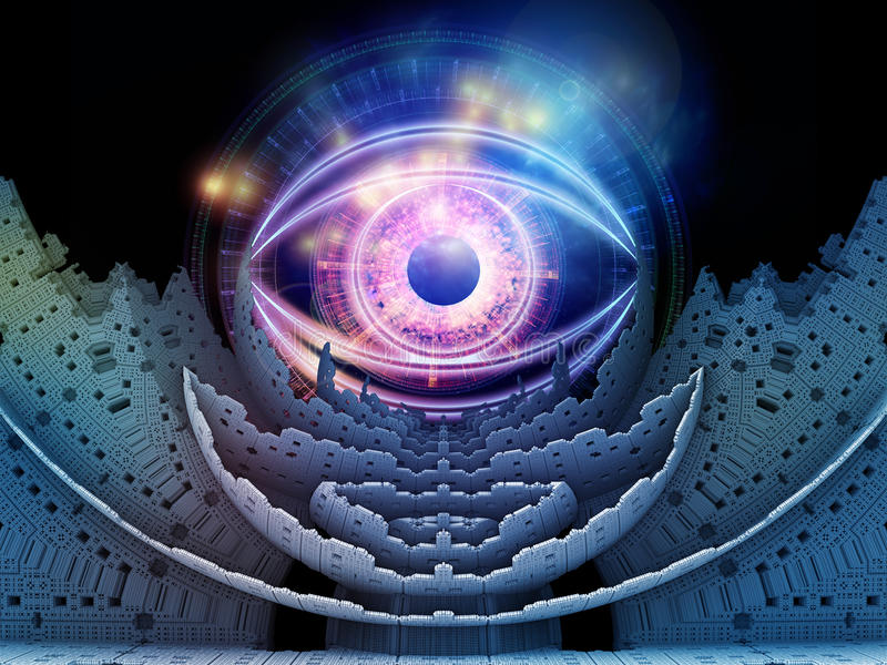 Fractal Eye. Design composed of fractal elements, lights and eye symbol on the subject of education, science and technologies vector illustration