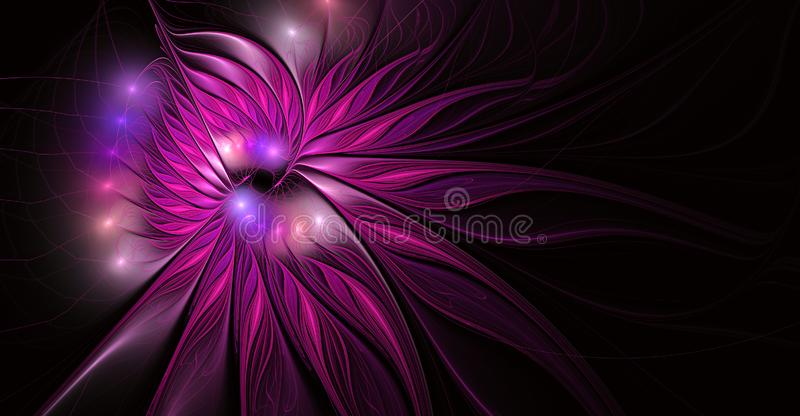Fractal fantasy and artistic flower. Beautiful shiny futuristic background vector illustration