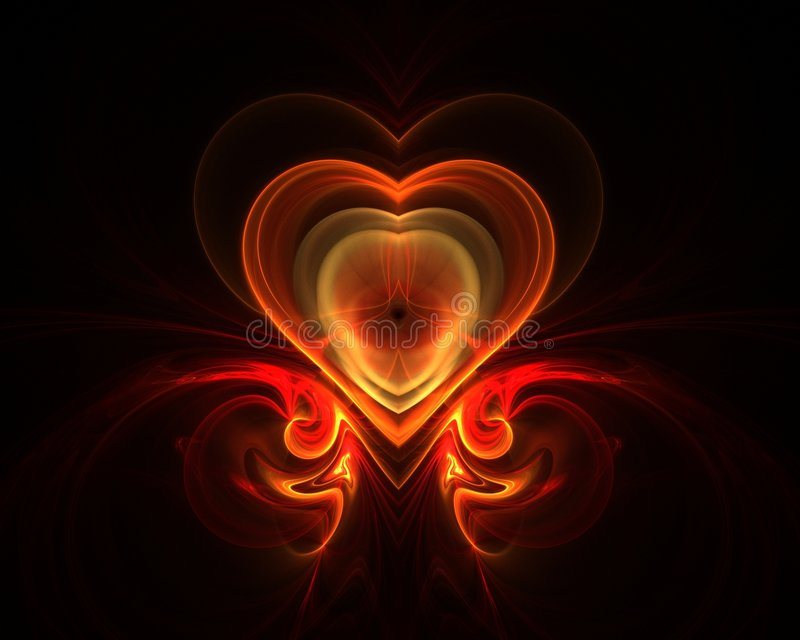 Fractal fire heart vector illustration