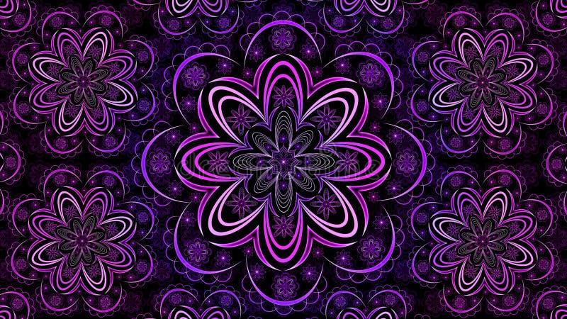 Fractal floral Mandala Wallpaper ilustração stock