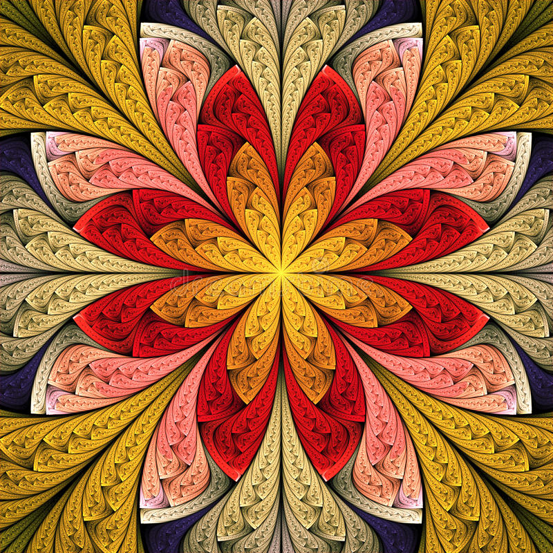 Fractal flower or floral pattern vector illustration