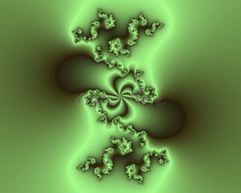 Fractal, geometrías abstractas floridas chispeantes elegantes brillantes verdes, textura viva ilustración del vector