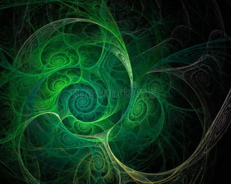 Fractal green swirls shells on black background. Fractal green swirls shells on а black background royalty free illustration