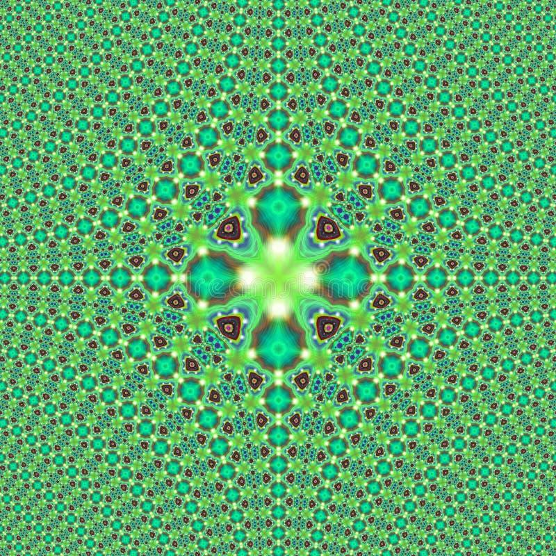 Fractal Groene betegelde Druk stock foto