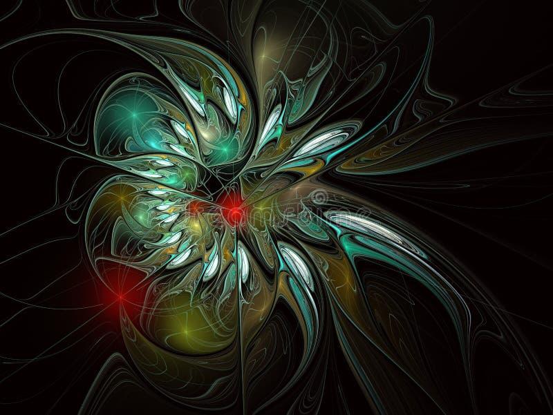 Fractal illustratie van heldere achtergrond met bloemenornament vector illustratie