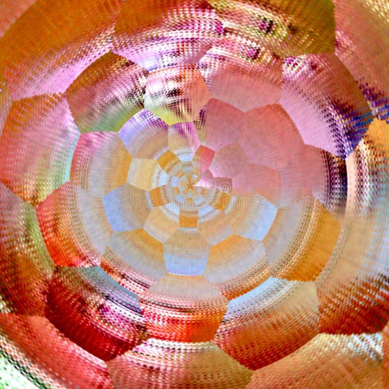 Fractal illustratie van regenboog gekleurd achtergrond gebreid weefsel in sinaasappel vector illustratie