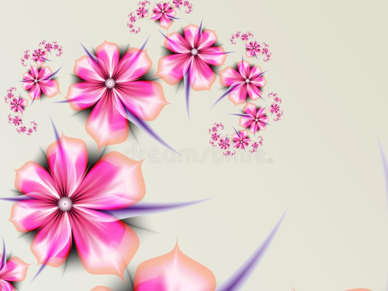 Fractal image, background for inserting your text. Fantasy pink flowers. Fantasy fractal image with pink flowers. Template with place for inserting your text royalty free illustration