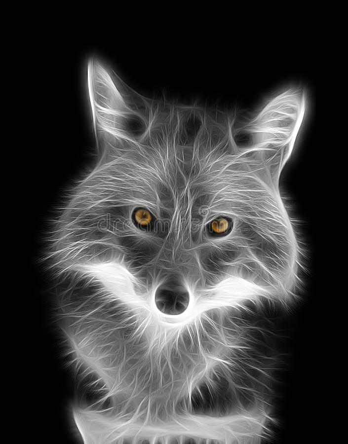 Fractal image of a black and white fox with bright yellow eyes stock photos