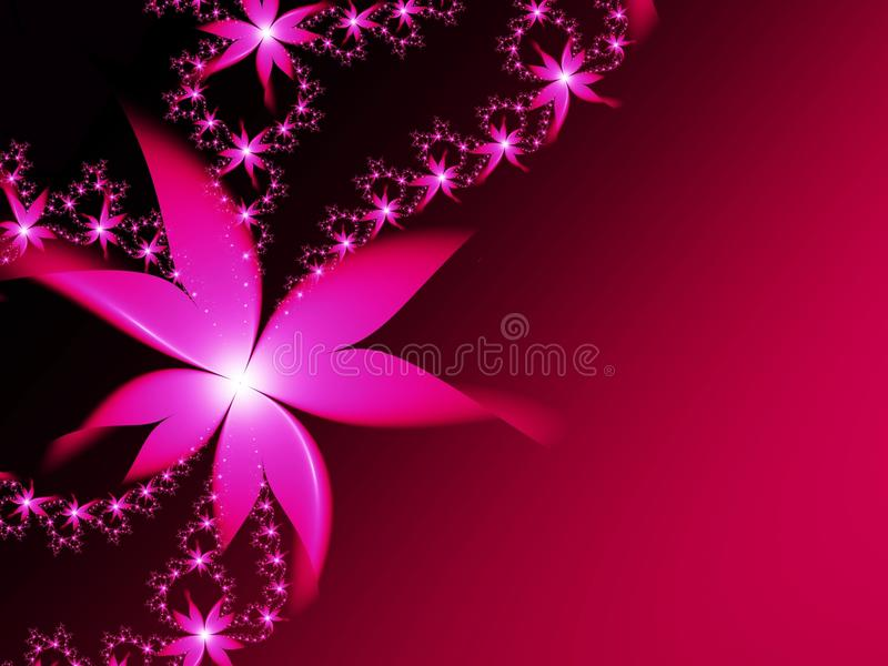 Fractal image with flowers. For your text. Pink color. Fractal image, beautiful template for inserting text, in color red and pink. Background with flower vector illustration