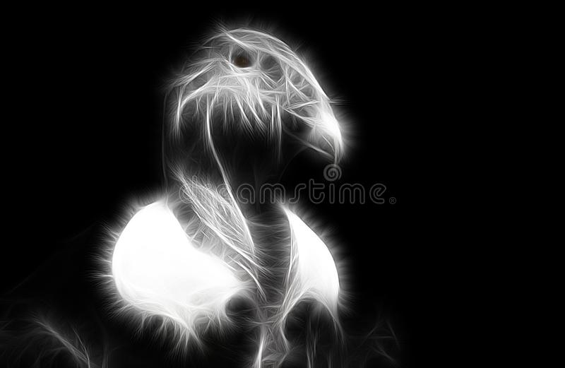 Fractal image of a majestic scavenger vulture close-up royalty free illustration