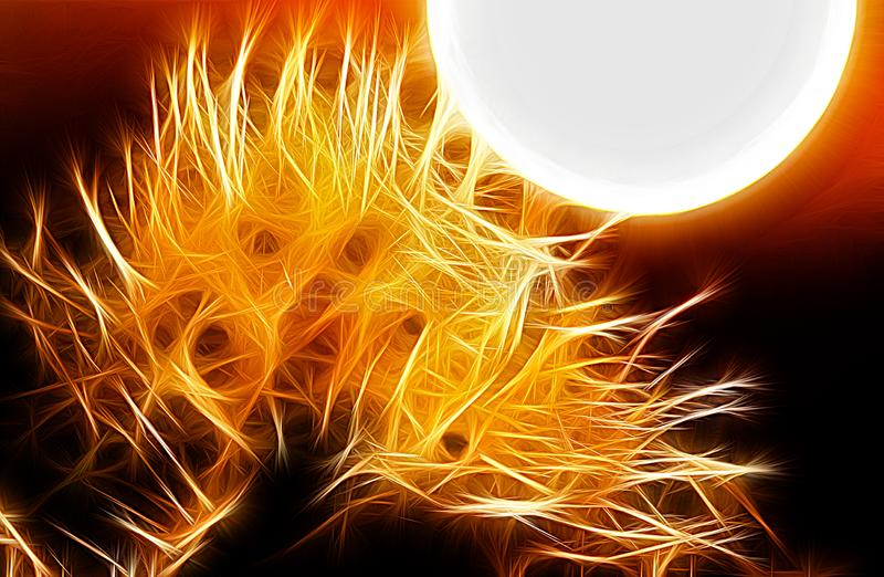 Fractal image of the setting sun stock illustration